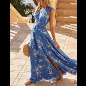 Albion Blue Floral Print Wrap Maxi Dress
